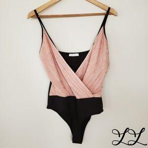 Parvenue Bodysuit Pink Black Spaghetti Straps Sexy